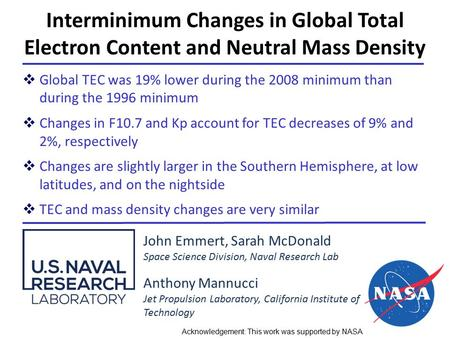 Interminimum Changes in Global Total Electron Content and Neutral Mass Density John Emmert, Sarah McDonald Space Science Division, Naval Research Lab Anthony.