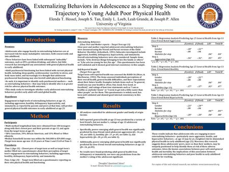 Externalizing Behaviors in Adolescence as a Stepping Stone on the Trajectory to Young Adult Poor Physical Health. Elenda T. Hessel, Joseph S. Tan, Emily.