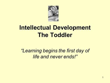 "1 Intellectual Development The Toddler ""Learning begins the first day of life and never ends!"""