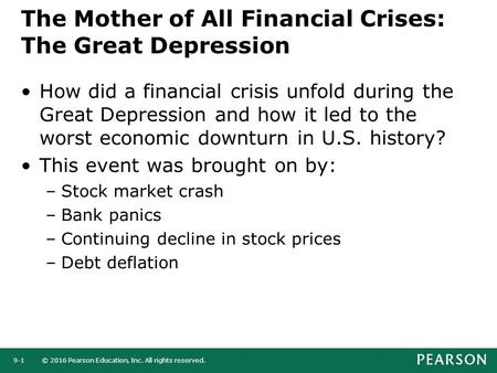 © 2016 Pearson Education, Inc. All rights reserved.9-1 The Mother of All Financial Crises: The Great Depression How did a financial crisis unfold during.