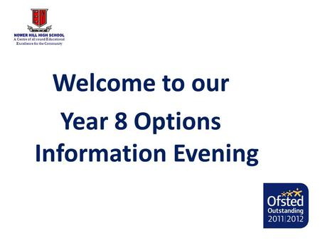 A Centre of all round Educational Excellence for the Community Welcome to our Year 8 Options Information Evening.