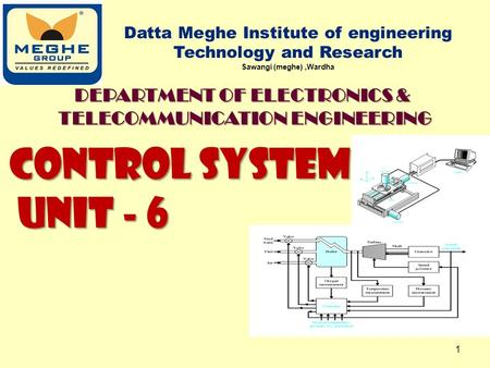 CONTROL SYSTEM UNIT - 6 UNIT - 6 Datta Meghe Institute of engineering Technology and Research Sawangi (meghe),Wardha 1 DEPARTMENT OF ELECTRONICS & TELECOMMUNICATION.
