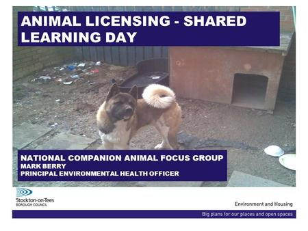 ANIMAL LICENSING - SHARED LEARNING DAY NATIONAL COMPANION ANIMAL FOCUS GROUP MARK BERRY PRINCIPAL ENVIRONMENTAL HEALTH OFFICER.