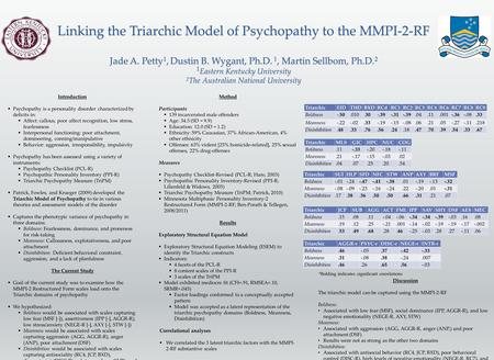 Linking the Triarchic Model of Psychopathy to the MMPI-2-RF Jade A. Petty 1, Dustin B. Wygant, Ph.D. 1, Martin Sellbom, Ph.D. 2 1 Eastern Kentucky University.