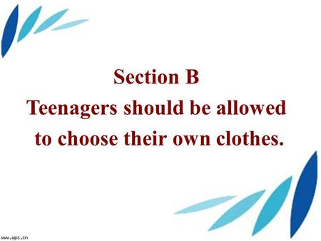 Section B Teenagers should be allowed to choose their own clothes.
