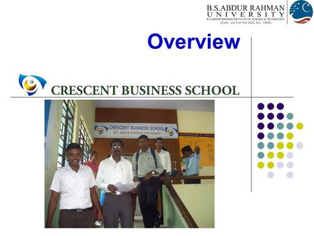 Overview. Establishment of Crescent Business School  Master of Business Administration Program  First Post-Graduate programme of the Institution  Established.