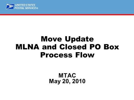 ® Move Update MLNA and Closed PO Box Process Flow MTAC May 20, 2010.
