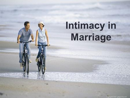 Intimacy in Marriage. The Enjoyment of the Harvest.