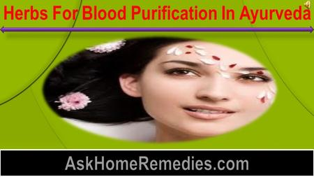 Herbs For Blood Purification In Ayurveda  Blood purification is something very vital to healthy living. We often take in to our body lots of toxins.
