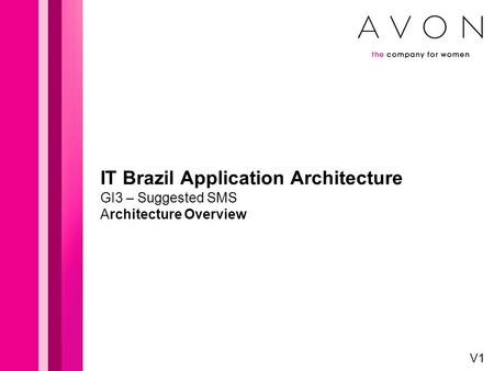 IT Brazil Application Architecture GI3 – Suggested SMS Architecture Overview V1.