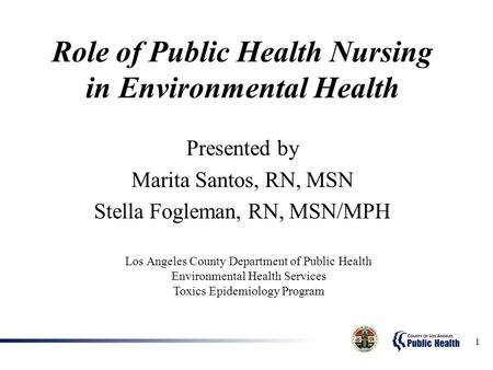 1 Role of Public Health Nursing in Environmental Health Presented by Marita Santos, RN, MSN Stella Fogleman, RN, MSN/MPH Los Angeles County Department.