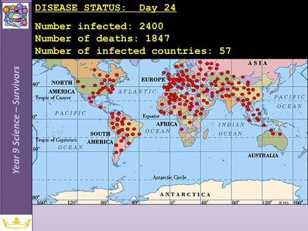 Year 9 Science – Survivors DISEASE STATUS: Day 24 Number infected: 2400 Number of deaths: 1847 Number of infected countries: 57.