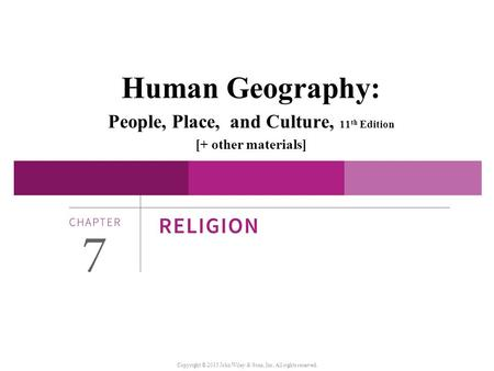 Human Geography: People, Place, and Culture, 11 th Edition [+ other materials] Copyright © 2015 John Wiley & Sons, Inc. All rights reserved.