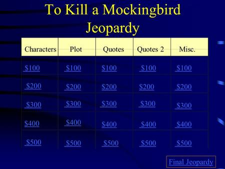 To Kill a Mockingbird Jeopardy CharactersPlotQuotesQuotes 2Misc. $100 $200 $300 $400 $500 $100 $200 $300 $400 $500 Final Jeopardy.