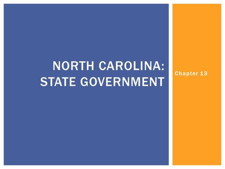 Chapter 13 NORTH CAROLINA: STATE GOVERNMENT.  Congress:  Comprised of?  ___________ laws  Upper House?  Requirements?  Lower House?  Requirements?