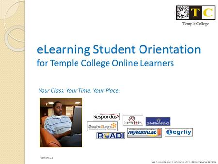 ELearning Student Orientation for Temple College Online Learners Your Class. Your Time. Your Place. Temple College Use of corporate logos in compliance.