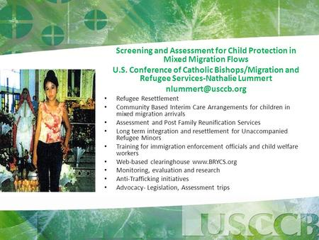 Screening and Assessment for Child Protection in Mixed Migration Flows U.S. Conference of Catholic Bishops/Migration and Refugee Services-Nathalie Lummert.