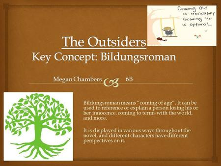 "Megan Chambers 6B Bildungsroman means ""coming of age"". It can be used to reference or explain a person losing his or her innocence, coming to terms with."