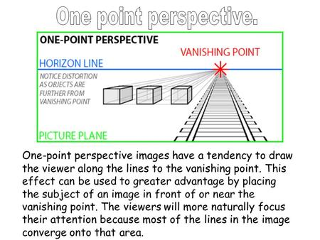 One-point perspective images have a tendency to draw the viewer along the lines to the vanishing point. This effect can be used to greater advantage by.