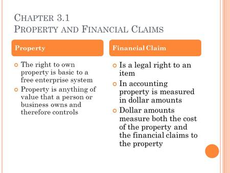 C HAPTER 3.1 P ROPERTY AND F INANCIAL C LAIMS The right to own property is basic to a free enterprise system Property is anything of value that a person.