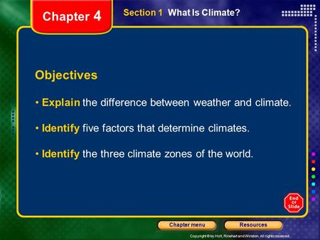 Copyright © by Holt, Rinehart and Winston. All rights reserved. ResourcesChapter menu Section 1 What Is Climate? Objectives Explain the difference between.