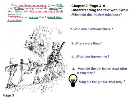 Chapter 2 :Page 3 -9 Understanding the text with 5W1H 1.When did this incident take place? 2. Who was mentioned here ? 3. Where were they ? 4. What was.