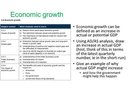 Economic growth Economic growth can be defined as an increase in actual or potential GDP Using AD/AS analysis, draw an increase in actual GDP (hint, think.