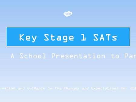 Key Stage 1 SATs Information and Guidance on the Changes and Expectations for 2015/16 A School Presentation to Parents.