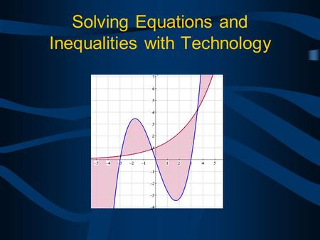 Solving Equations and Inequalities with Technology.
