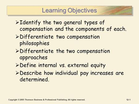 Copyright © 2005 Thomson Business & Professional Publishing. All rights reserved.12–1 Learning Objectives  Identify the two general types of compensation.