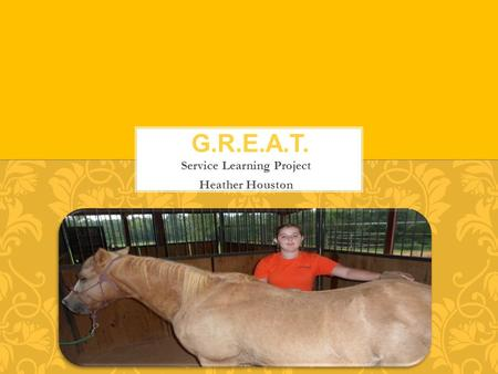 Service Learning Project Heather Houston. Equine assisted therapy is the act of using horses in order to elicit a therapeutic response from people with.