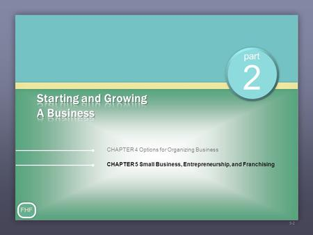 Part CHAPTER 5 Small Business, Entrepreneurship, and Franchising 2 CHAPTER 4 Options for Organizing Business FHF 5-2.