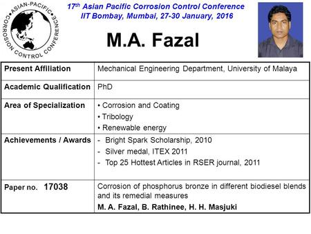 M.A. Fazal Present AffiliationMechanical Engineering Department, University of Malaya Academic QualificationPhD Area of Specialization Corrosion and Coating.