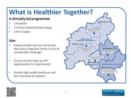 A clinically led programme: 5 hospitals 5 Clinical Commissioning Groups 2 PCT Clusters Aim: Improve health services and ensure they have a long term future.
