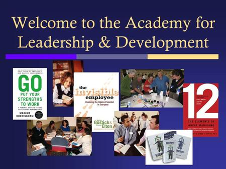 Welcome to the Academy for Leadership & Development.