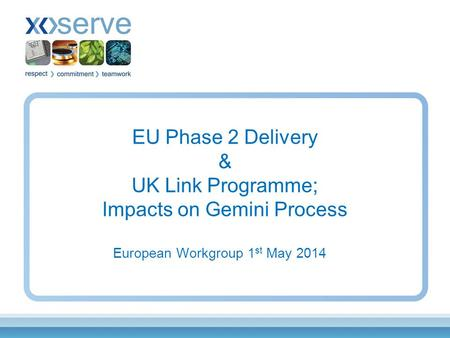 EU Phase 2 Delivery & UK Link Programme; Impacts on Gemini Process European Workgroup 1 st May 2014.
