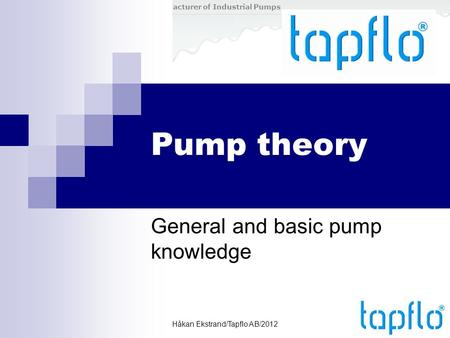 General and basic pump knowledge