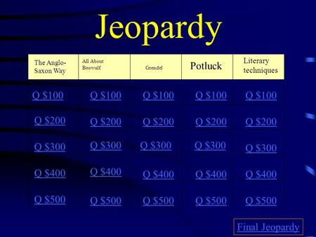 Jeopardy The Anglo- Saxon Way All About BeowulfGrendel Literary techniques Potluck Q $100 Q $200 Q $300 Q $400 Q $500 Q $100 Q $200 Q $300 Q $400 Q $500.