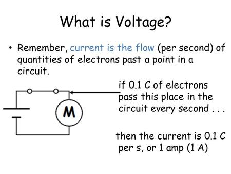 What is Voltage? Remember, current is the flow (per second) of quantities of electrons past a point in a circuit. if 0.1 C of electrons pass this place.