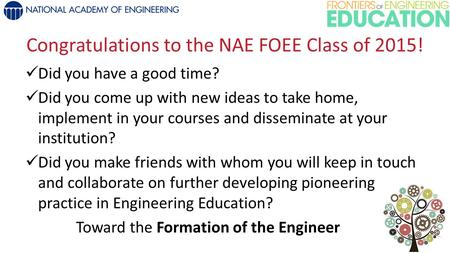 Congratulations to the NAE FOEE Class of 2015! Did you have a good time? Did you come up with new ideas to take home, implement in your courses and disseminate.