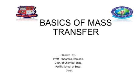 BASICS OF MASS TRANSFER -:Guided by:- Proff. Bhoomika Domadia Dept. of Chemical Engg. Pacific School of Engg. Surat.