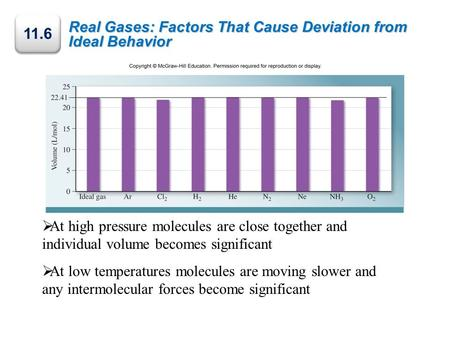 Real Gases: Factors That Cause Deviation from Ideal Behavior 11.6  At high pressure molecules are close together and individual volume becomes significant.