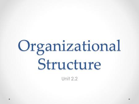 Organizational Structure Unit 2.2. Delegation Passing control and authority to others. This happens when a business grows. SMART Goals Exam tip: This.