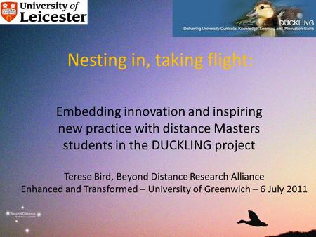 Nesting in, taking flight: Embedding innovation and inspiring new practice with distance Masters students in the DUCKLING project Terese Bird, Beyond Distance.