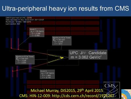 Ultra-peripheral heavy ion results from CMS Michael Murray, DIS2015, 29 th April 2015 CMS: HIN-12-009:
