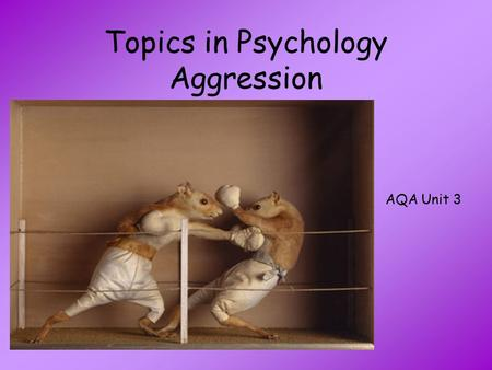 Topics in Psychology Aggression AQA Unit 3. What is Aggression? With the person next to you List as many different types of aggression as you can think.