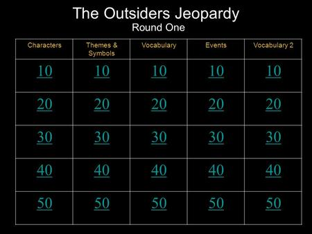 The Outsiders Jeopardy Round One CharactersThemes & Symbols VocabularyEventsVocabulary 2 10 20 30 40 50.