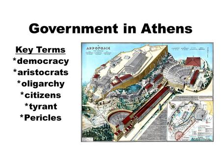 Government in Athens Key Terms *democracy *aristocrats *oligarchy