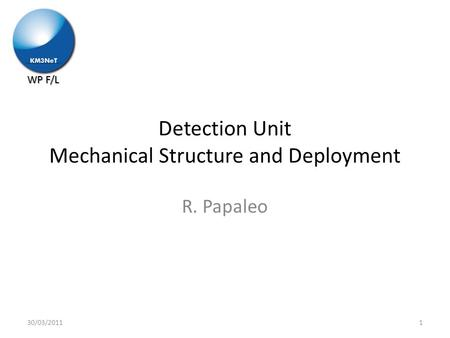 WP F/L Detection Unit Mechanical Structure and Deployment R. Papaleo 130/03/2011.