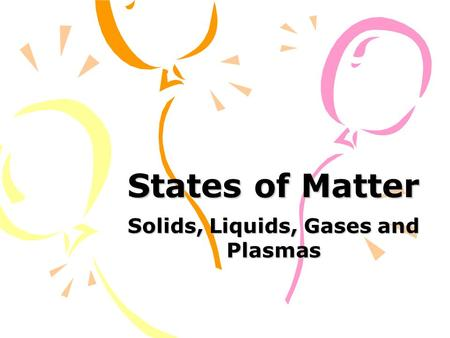 States of Matter Solids, Liquids, Gases and Plasmas.